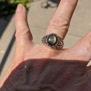 Natural Black (Brown) Star Sapphire Ring sz7 Sterl